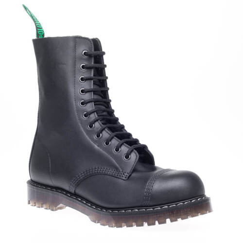Solovair Made UK Mens Black Greasy Leather Steel toe Cap Derby Combat Boots