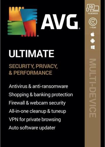 AVG ULTIMATE 2021 - FOR 10 DEVICES - 1 YEAR - NOW INCLUDES SECURE VPN - DOWNLOAD