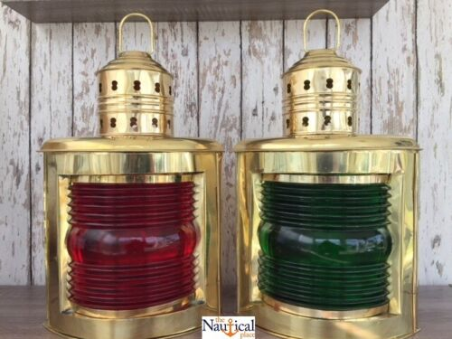 "14"" Deluxe Brass Port & Starboard Lanterns ~ Ship Oil Lamp ~ Nautical Maritime"