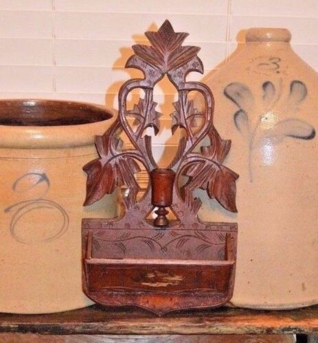 Antique 1800's Carved Candle Holder Wall Box Wood Black Forest H.I. Seymour N.Y.