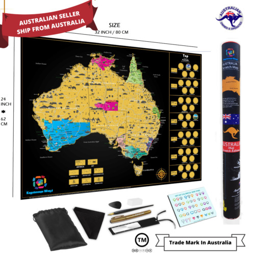 Large Glossy Deluxe Scratch Off Map Of Australia Poster Travel Atlas Decor Tools <br/> AU Stock✔Fast Dispatch✔ Top Quality✔ Australian Design