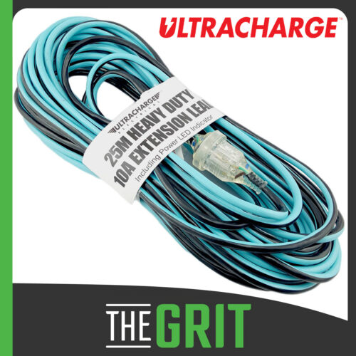 Ultracharge 25m Extension Lead Cord Tradies Heavy Duty w/ LED Power Indicator