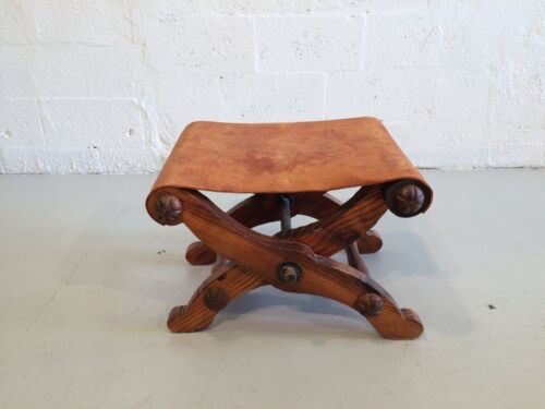 great spanish antique ottoman folding stool leather rustic