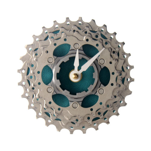 Handmade Turquoise Bicycle Cassette Gear Desk Clock Recycled Parts Design Gift