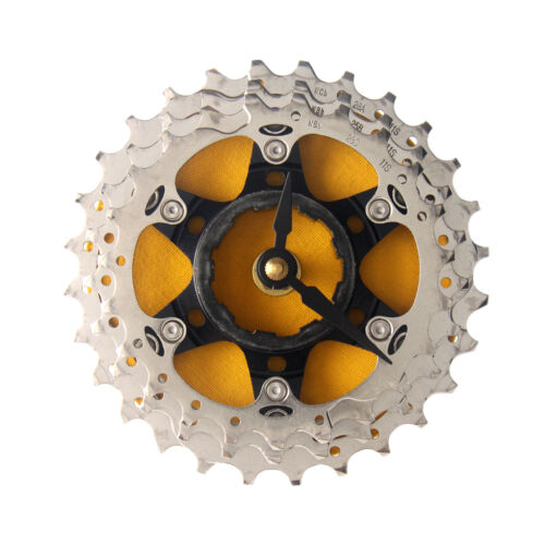 Handmade Yellow Bicycle Cassette Gear Desk Clock Recycled Parts Unique Design