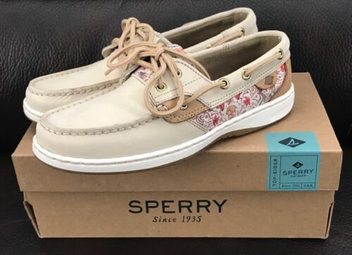 Sperry Topsider Womens Boat Shoes Leather/Memory Foam Oat/Multi NEW Size 9.5