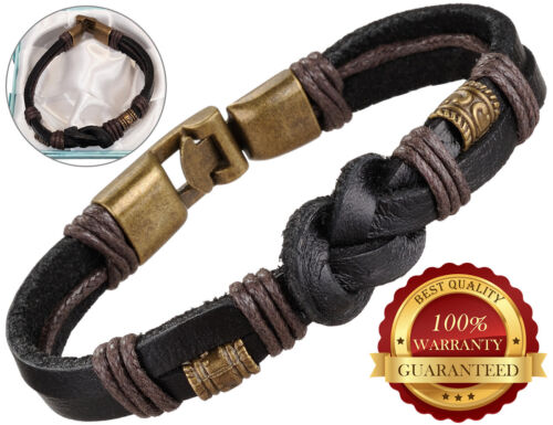 Surfer Faux Leather Bracelet Mens Wristband Bronze Buckle Braided Rope Black