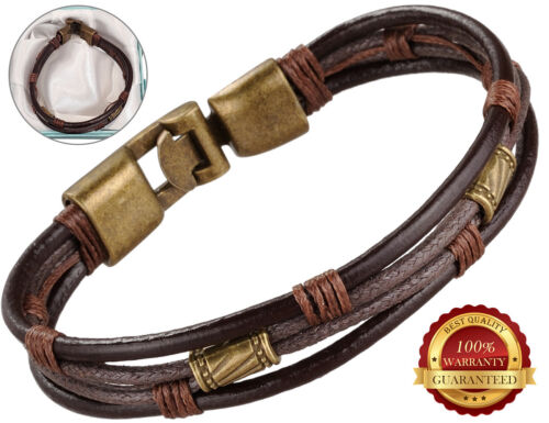 Surfer Faux Leather Bracelet Mens Wristband Braided Rope Bronze Buckle Wrap