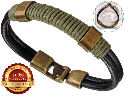 Surfer Faux Leather Bracelet Mens Wristband Bronze Buckle Cuff Braided Rope