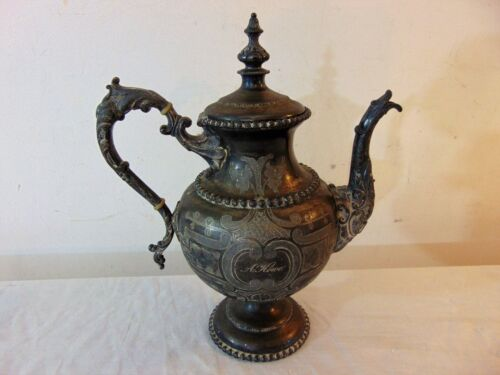 Antique Ornate 1860's Rogers Smith & Co New Haven CT Coffee Tea Pot Silver Plate
