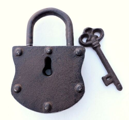 Padlock & Key Vintage Cast Iron Reproduction Rustic 5 1/2x3 1/2 inches New
