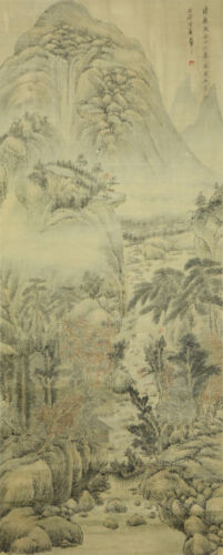 A CHINESE ANTIQUE PAPER PAINTING SCROLL BY WANG, HUI