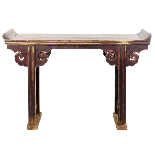 """Antique Chinese 52"""" Wide Altar Hall Sofa Table brown lacquer, 15"""" deep 36"""" Tall"""