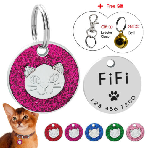 Engraved Cat ID Tags Personalized Puppy Kitten Cat Name Collar Tags Glitter 25mm