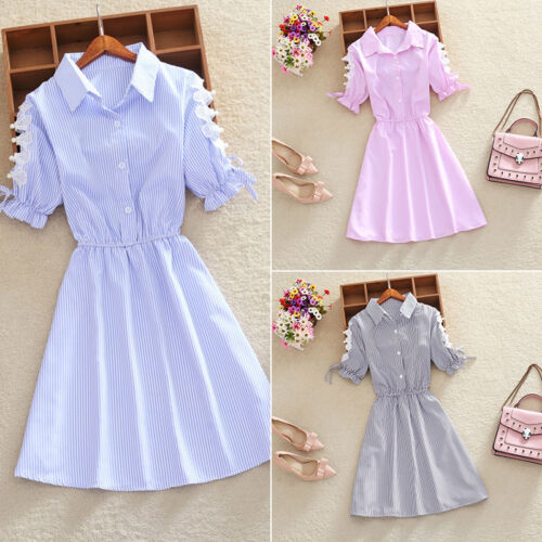 0f0da19b Fashion Korean Summer Womens Girls Striped Belt Short Sleeve Casual Shirt  Dress