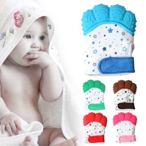 New Baby Glove Silicone Teether Pacifier Teething Wrapper Sound Mitten Nursing