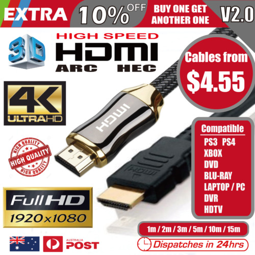 Premium HDMI Cable V2.0 4K Ultra HD 3D High Speed Ethernet 1m 2m 3m 5m 10m 15m <br/> 1m from $4.85, 2m from $6.25, Extra 10% off buy 2+ !