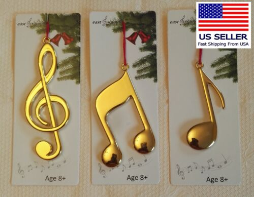 Christmas Ornament,  Music Note group of 3, Solid Metal Gold