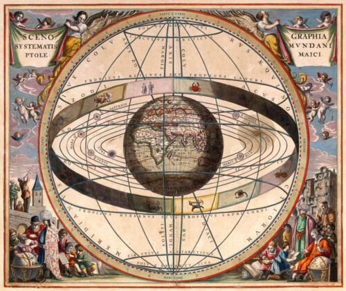 Antique Astrology World Map, Vintage, 1660, Fade Resistant HD Print or Canvas