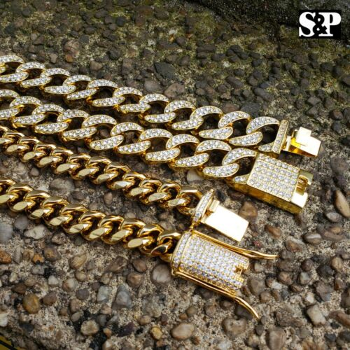 Hip Hop Lab Diamond Iced out Miami Cuban Link Iced lock Chain 2 Necklace set