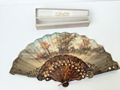 Beautiful decorative signed antique vintage fan made by Duvelleroy of London