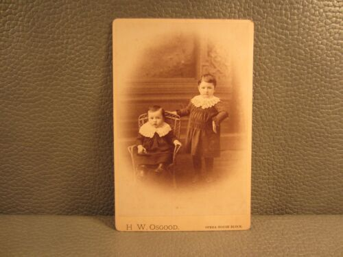Victorian Antique Cabinet Card Photo of Two Young Girls Sisters