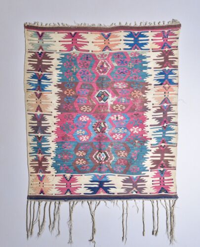 OUTSTANDING COLLECTOR ANTIQUE EARLY ANATOLIAN ARMENIAN SMALL KILIM RUG WEAVING