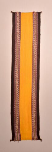 ANTIQUE UNUSUAL ANDEAN SAFFRON YELLOW EMBROIDERY RUG TEXTILE