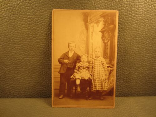 Victorian Antique Cabinet Card Photo of Young Kids, Children, Boys and Girls