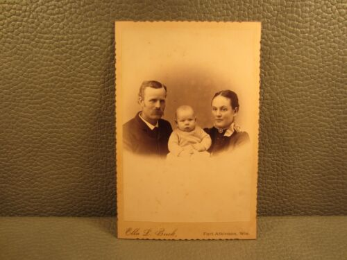 Victorian Antique Cabinet Card Photo of Family, Mother, Father, Son, Infant,Baby