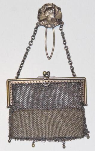 Art Nouveau Sterling Silver Chain Mail Coin Purse by GD London 1904 Chatelaine