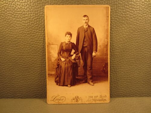 Victorian Antique Photo Cabinet Card of a Young Couple Husband and Wife