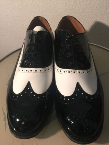 Men's hand made two tone English Brogues!Patent Leather!