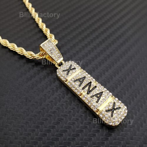 "Hip Hop Iced out Lab Diamond Xanax Pendant & 4mm 24"" Rope Chain Necklace"