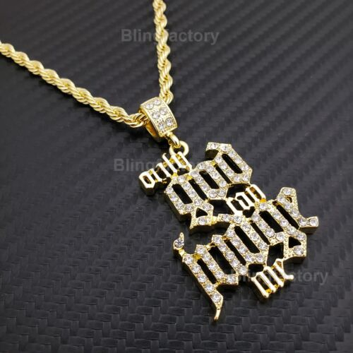 "Hip Hop Iced out ""ONLY GOD CAN JUDGE ME"" Pendant & 4mm 24"" Rope Chain Necklace"