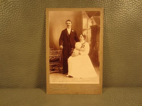 Edwardian Antique Cabinet Card Wedding Photo of Couple Man and Woman