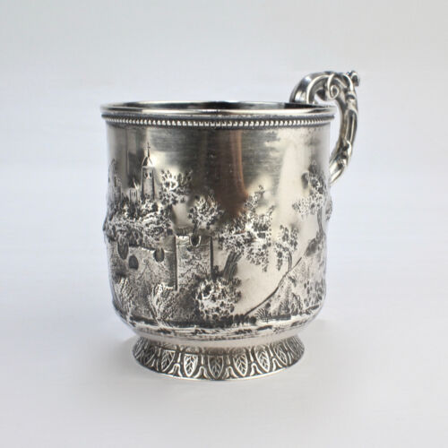 Antique Adolphe Himmel Repousse New Orleans Hyde & Goodrich Coin Silver Mug - SL