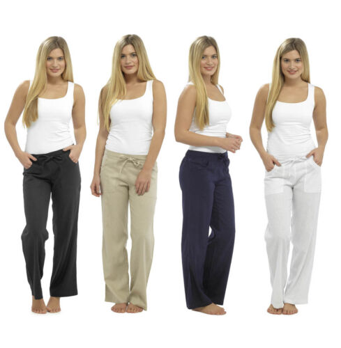 LADIES WOMENS TOM FRANKS CASUAL LINEN LONG TROUSERS SUMMER VARIOUS COLOURS NEW