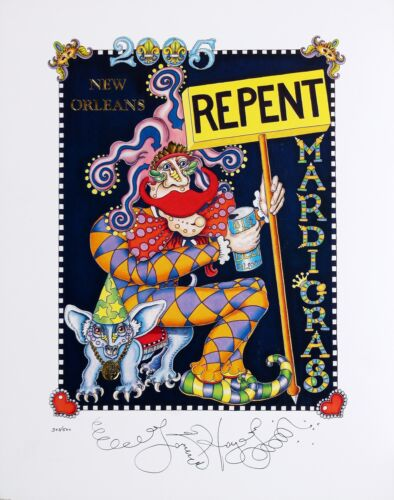 """MARDI GRAS 2005 """"REPENT"""" POSTER, NEW ORLEANS ARTIST Jamie Hayes, 16x20,signed"""