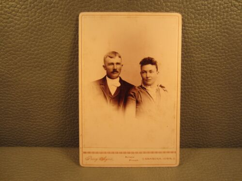 Victorian Antique Cabinet Card Photo of a Couple, Man and Woman, Husband & Wife