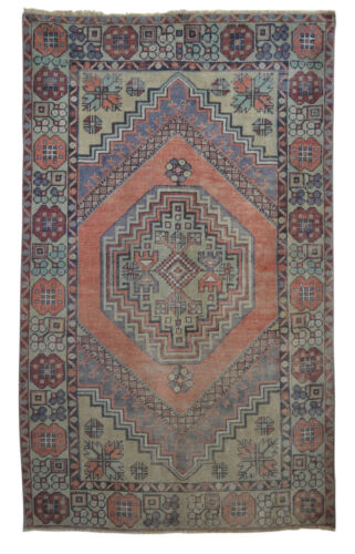 """Vintage Distressed Area Rug Hand Knotted Turkish Faded Oushak Rug 3'5"""" x 5'8"""""""