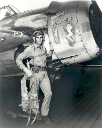 WW2 Photo WWII US Navy Pilot with Nose Art F4F  Wildcat World War Two USN United States - 156437