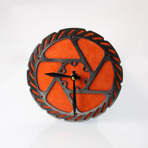 Handmade Orange Bicycle Disc Rotor Wall Clock Recycled Parts Unique Design Gift