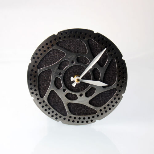 Handmade Black Bicycle Disc Rotor Wall Clock Recycled Parts Unique Design Gift
