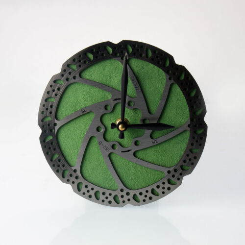 Handmade Green Bicycle Disc Rotor Wall Clock Recycled Parts Unique Design Gift