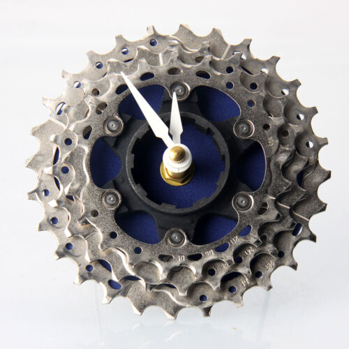 Handmade Blue Bicycle Cassette Gear Desk Clock Recycled Parts Art Design Gift
