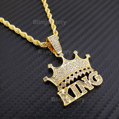 "Hip Hop Iced out Lab Diamond CROWNED KING Pendant & 4mm 24"" Rope Chain Necklace"