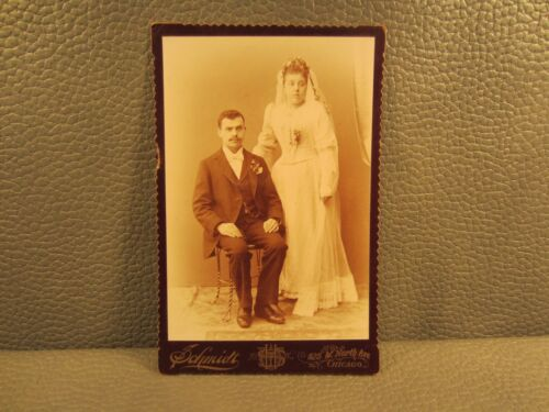 Victorian Antique Cabinet Card Wedding Photo of a Married Couple