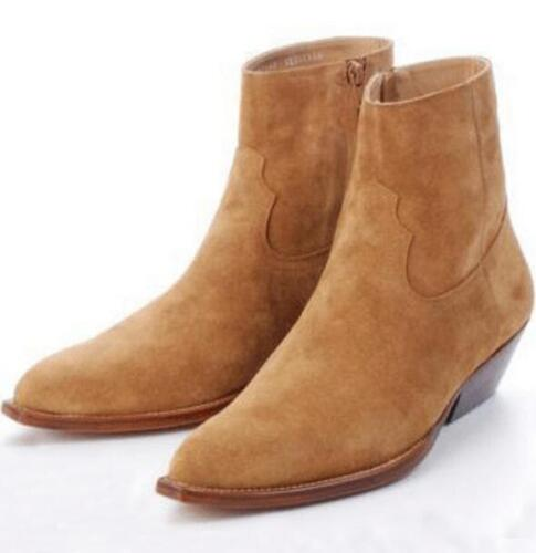 ae7f11734 Western Mens Chelsea Real Suede Leather High Top Ankle Boots Mid Heel Shoes  New