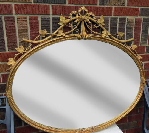 """ANTIQUE ITALIAN WOOD CARVED BAROQUE GOLD ITALIAN FRAME HANGING OVAL MIRROR 38"""" w"""